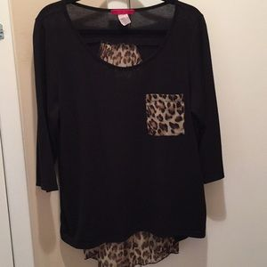 3/4 sleeve high/low top size 1X
